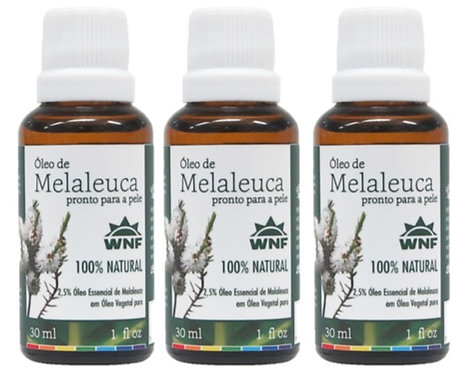 Kit c/ 3un Óleo de Melaleuca pronto para uso direto na pele 30ml - WNF