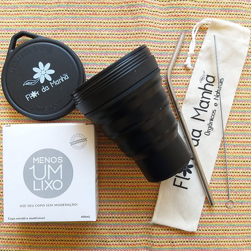 Kit Copo de Silicone Cor Jabuticaba + Kit Canudo Inox, Escova de limpeza e Bag