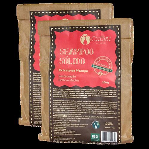 Kit 2 un - Shampoo Sólido de Pitanga Orgânico Vegano 100g - Cativa