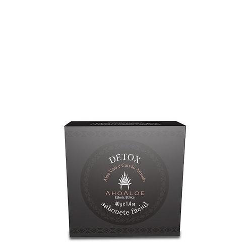 Sabonete Facial Natural Vegano Detox Carvão Ativado 40g - AhoAloe