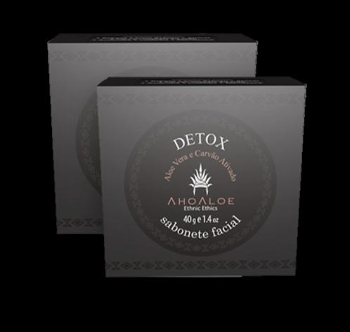 Kit 2 un - Sabonete Facial Natural Vegano Detox Carvão Ativado 40g - AhoAloe