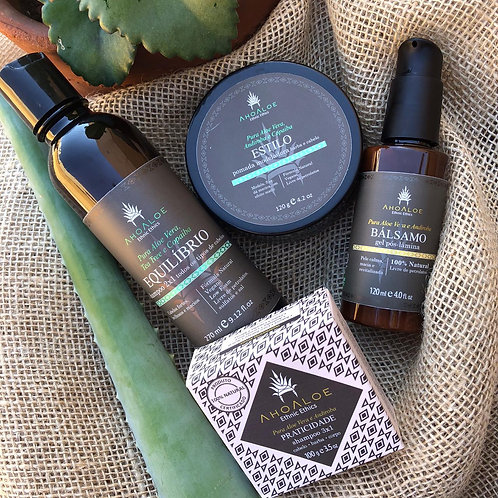 Kit Gel Pós Barba, Pomada Modeladora, Shampoo 2x1, Shampoo Sólido 3x1 - AhoAloe