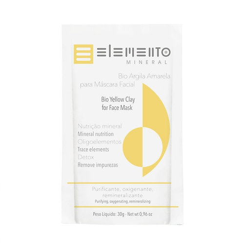Bio Argila Amarela Vegano Máscara Facial 30g - Elemento Mineral