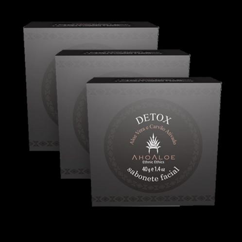 Kit 3 un - Sabonete Facial Natural Vegano Detox Carvão Ativado 40g - Aho