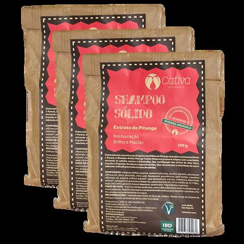 Kit 3 un - Shampoo Sólido de Pitanga Orgânico Vegano 100g - Cativa