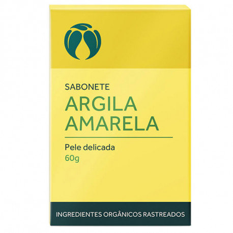 Sabonete Argila Amarela Pele Delicada Orgânico Vegano 60g - Cativa