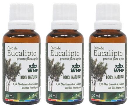 Kit c/ 3un Óleo de Eucalipto pronto para uso direto na pele 30ml - WNF