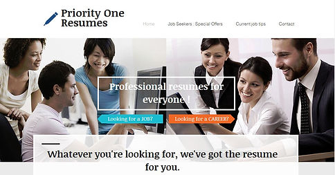 Priority One Resumes webpage