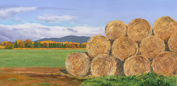 Hay Bales and the Malvern Hills, Worcestershire
