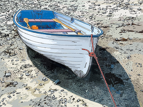 Blue Boat on the Beach, St Anthony, Cornwall