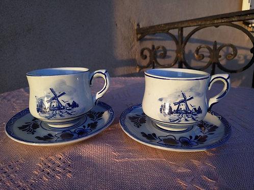 Две чайные пары, фаянс, ручная роспись