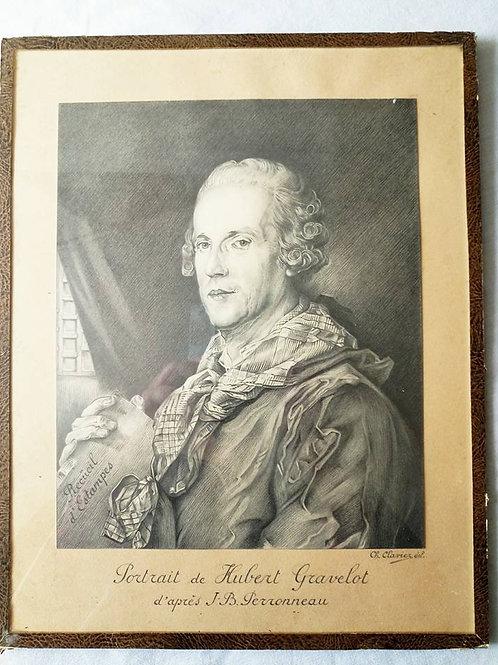 """Рисунок карандашом под стеклом французская школа,  """"Портрет Юбера Гравло"""""""