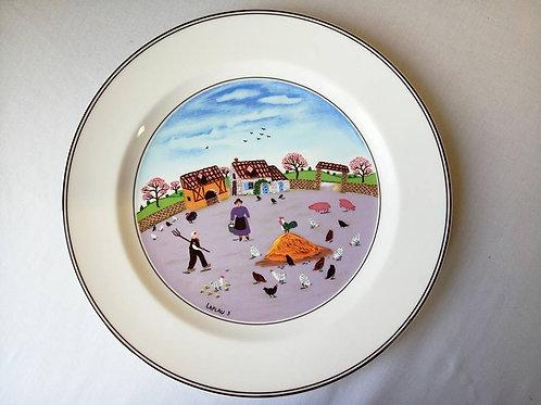 """Колекционная тарелка Villeroy & Boch, фарфор, авторская картина """"Птичий двор"""""""