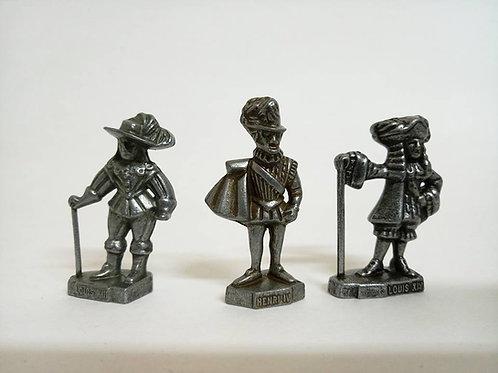 Три оловяные фигурки королей Louis 13, Louis 14, Henri 4