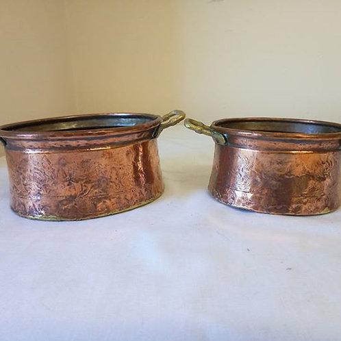 Две кастрюльки из луженой меди с бронзовыми ручками, Франция 80гг