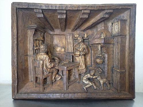 """Картина с перспективой, барельеф 3D """"Дом семьи в Эльзасе"""""""