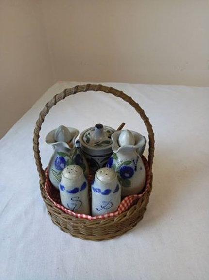 Набор спецовников в корзине, эльзасская керамика, Франция, 80гг
