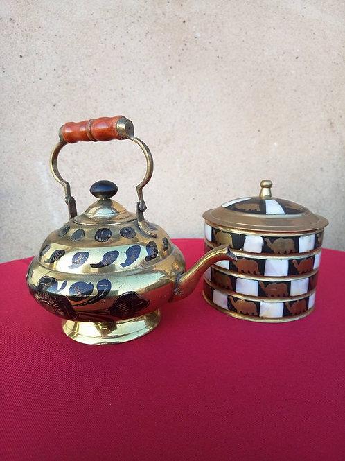 Чайник и сахарница с вставками перламутра, чайник декоративный, латунь, ручная р