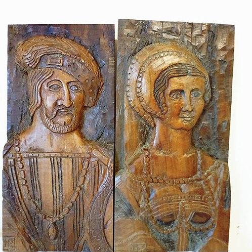 Две картины- барельефы на дубовой доске, изготовлены для замка во Франции