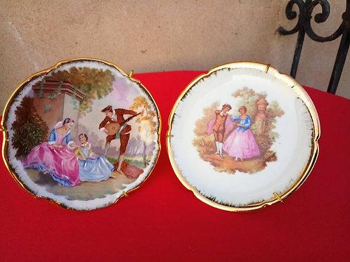 """Две Коллекционный тарелки с картинами Фрагонара """"Свидание"""""""