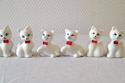 Шесть белоснежных фарфоровых котят для декора стола, ручная роспись, Франция