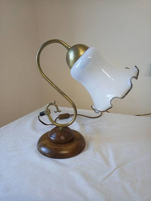 Настольная лампа, стекло, латунь, дерево, Франция 70гг