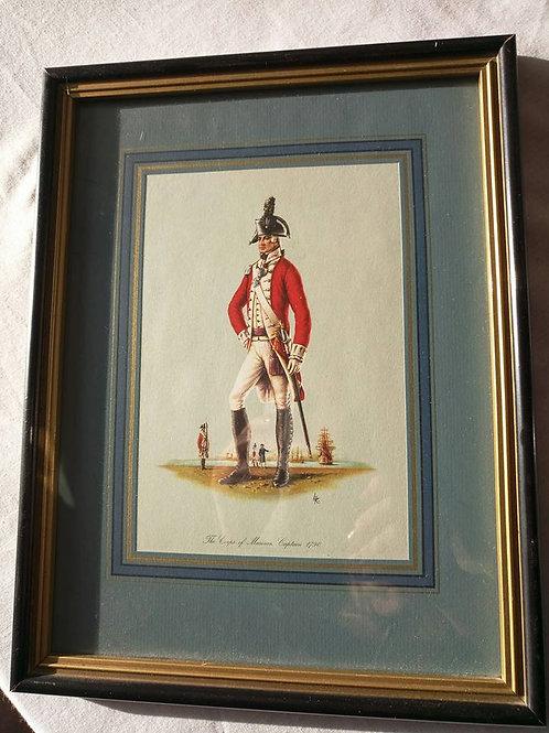 """Цветная литография """"Капитан морского корпуса 1790г."""", авторская подпись. Франция"""