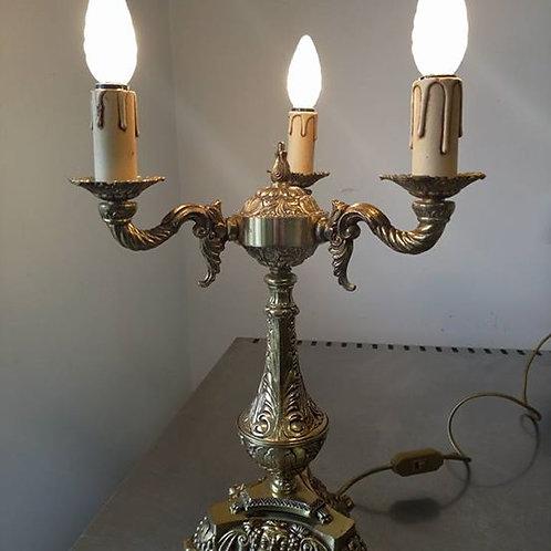 Бронзовый светильник-канделябр с барельефом Бахуса.