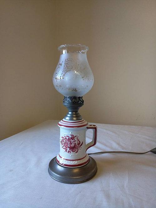 Электрическая лампа-ночник, фаянс, олово, ручная роспись,Франция 80г (МА)