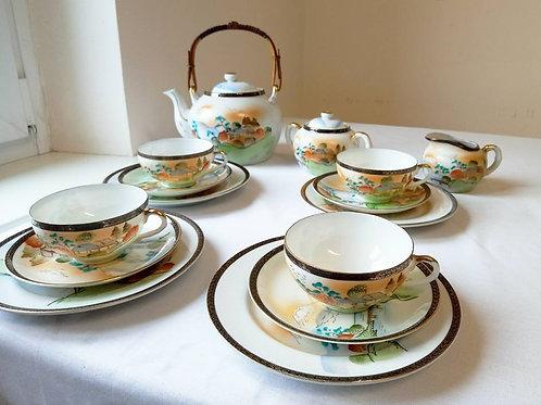 Чайный сервиз, тонкий фарфор, ручная роспись, клеймо в фарфоре - голова гейши