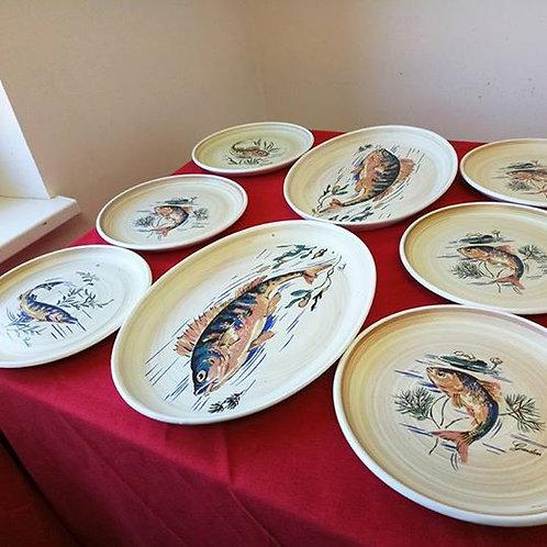 Набор тарелок и два блюда для рыбы, фарфор Sarreguemines, Франция 80гг