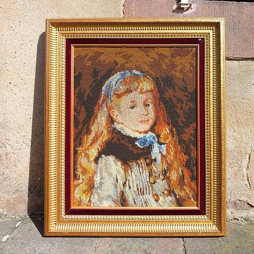 """Картина """"Барышня Гримпель с голубой лентой в волосах """", вышивка полукрестом"""