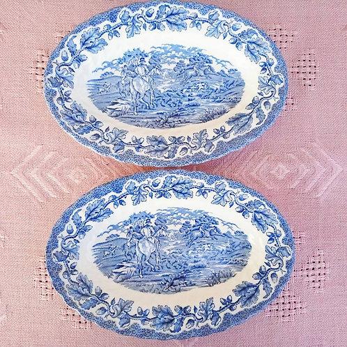 """Две овальные глубокие тарелки- блюда гравюра """"Сцены охоты"""""""