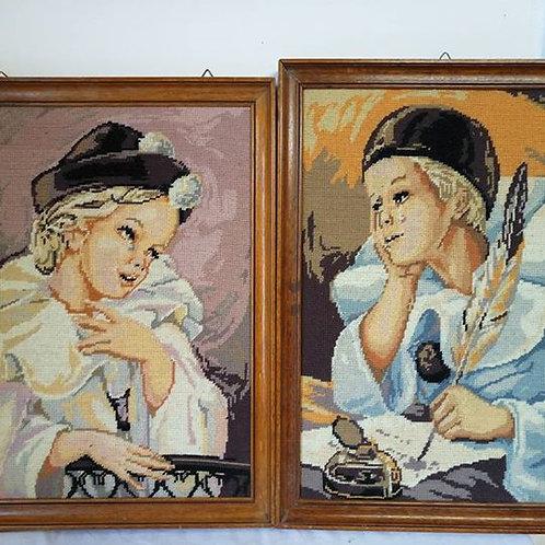 """Картина-вышивка в деревянной раме """"Пьерета на балконе"""" и """"Пьерета пишет письмо"""""""
