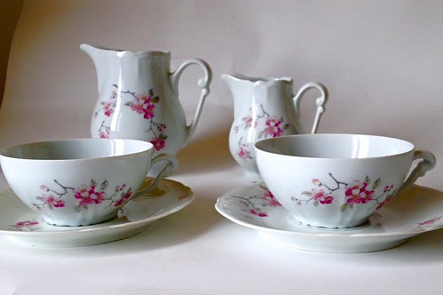 """Две чайные пары, сливочник и молочник """"Цветение сакуры"""""""