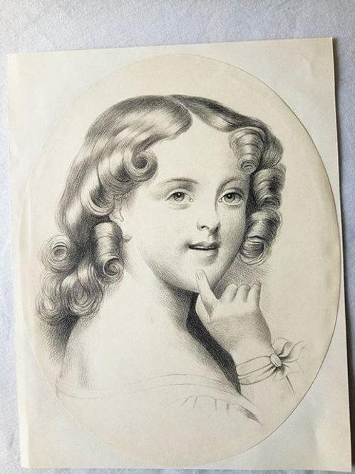 """Рисунок карандашом """"Портрет девочки"""", автор неизвестен, Франция, конец 19 века"""
