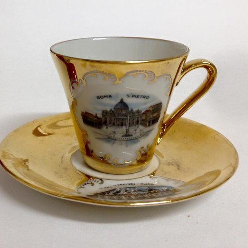 Кофейная пара, тонкий фарфор, позолота, коллекционная серия Германия 70гг