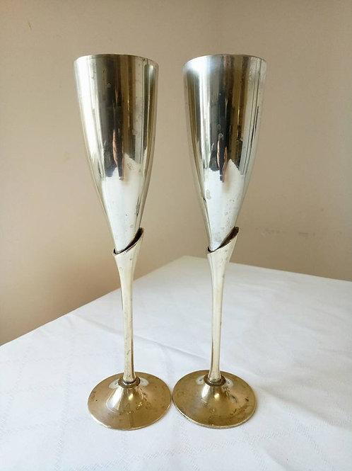 Два фужера для шампанского, серебрение, латунь