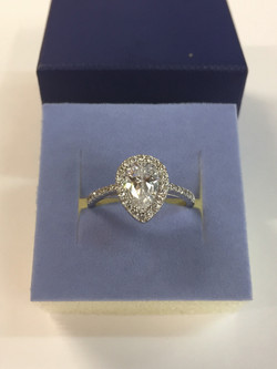 silver cz pear ring