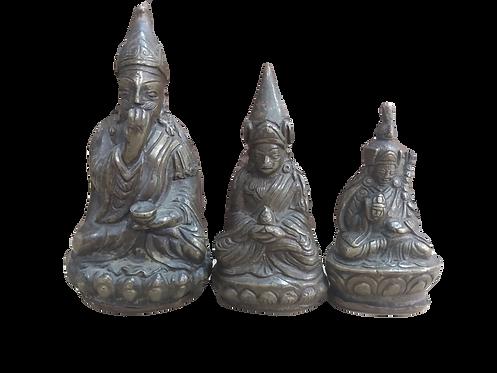 Tibetan Set of 3 Bronze Figures