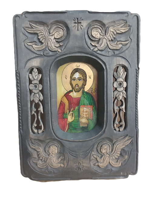 Jesus Set In Carved Frame