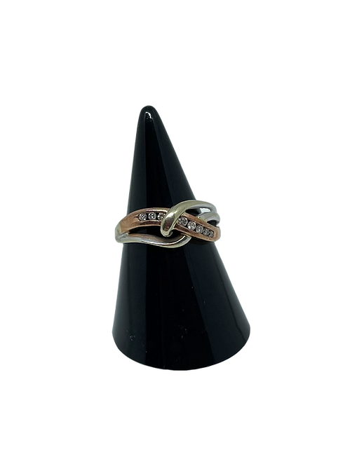 9ct 3 Colour Gold Diamond Ring