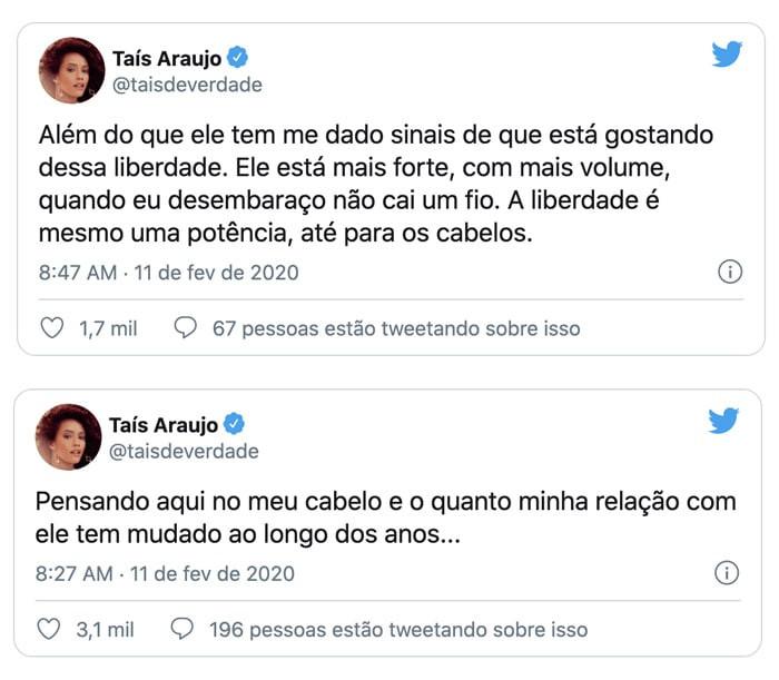 Taís Araújo fala da liberdade e relação com seus cabelos naturais, em seu twitter