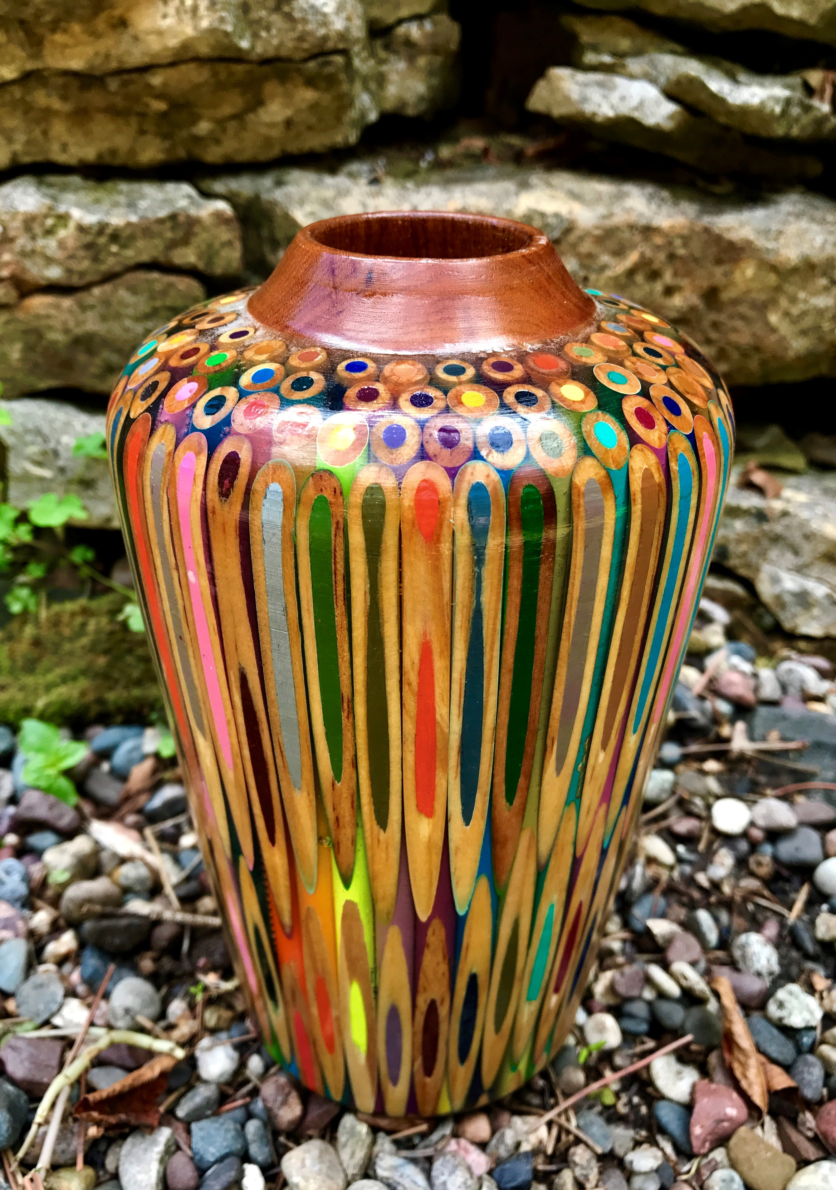 Colored pencil straight vase