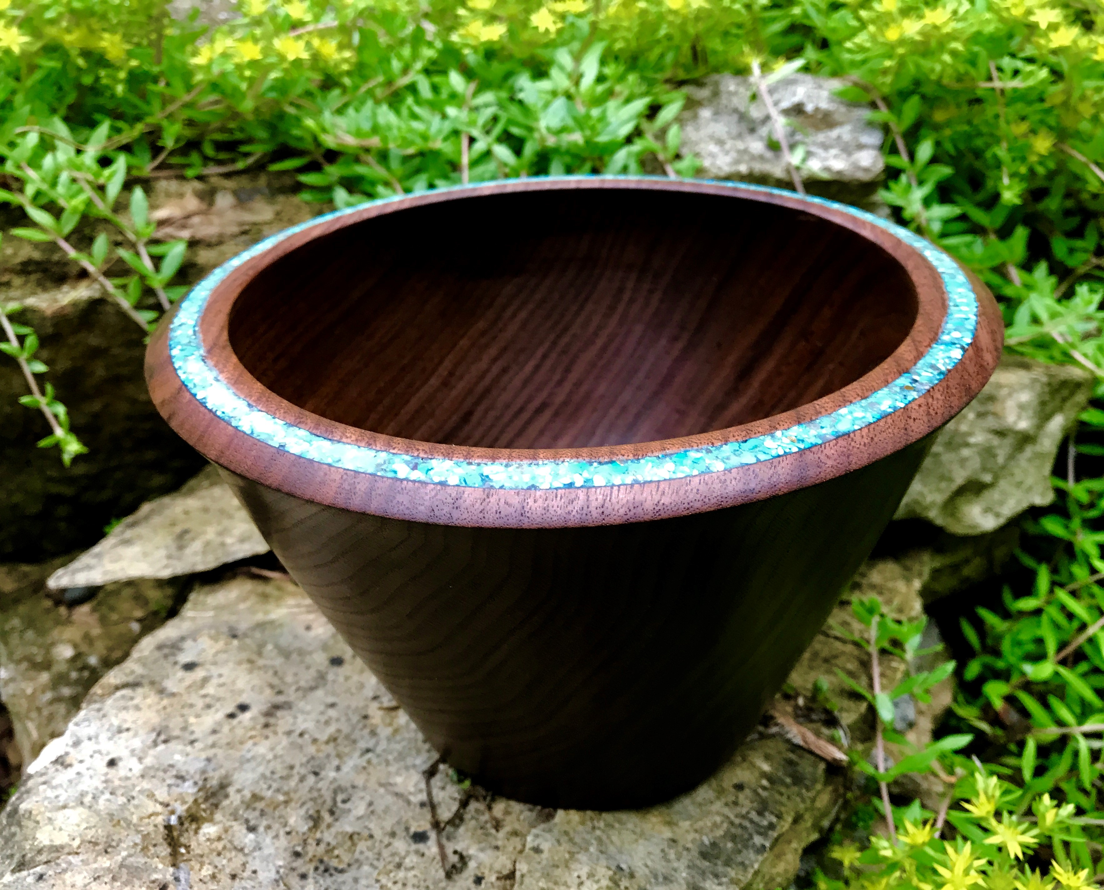 Walnut and Turquoise Bowl