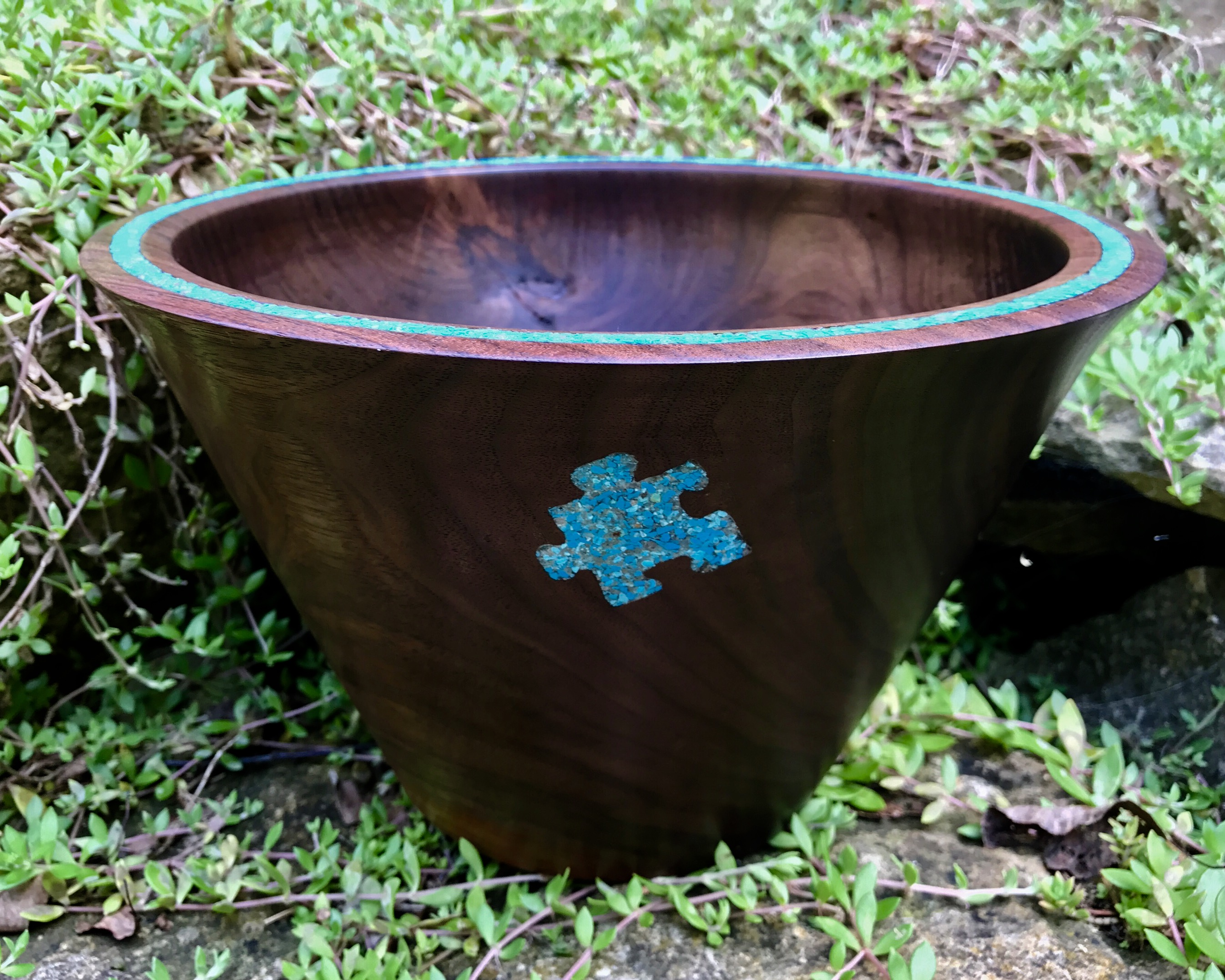 Walnut with Turquoise Puzzle inlay