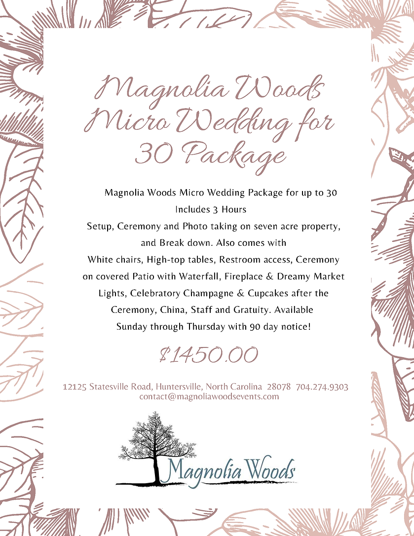 Magnolia Woods Micro Wedding Packages fo