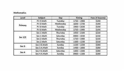 Tamp Math Schedule