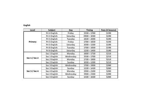 Tamp English Schedule