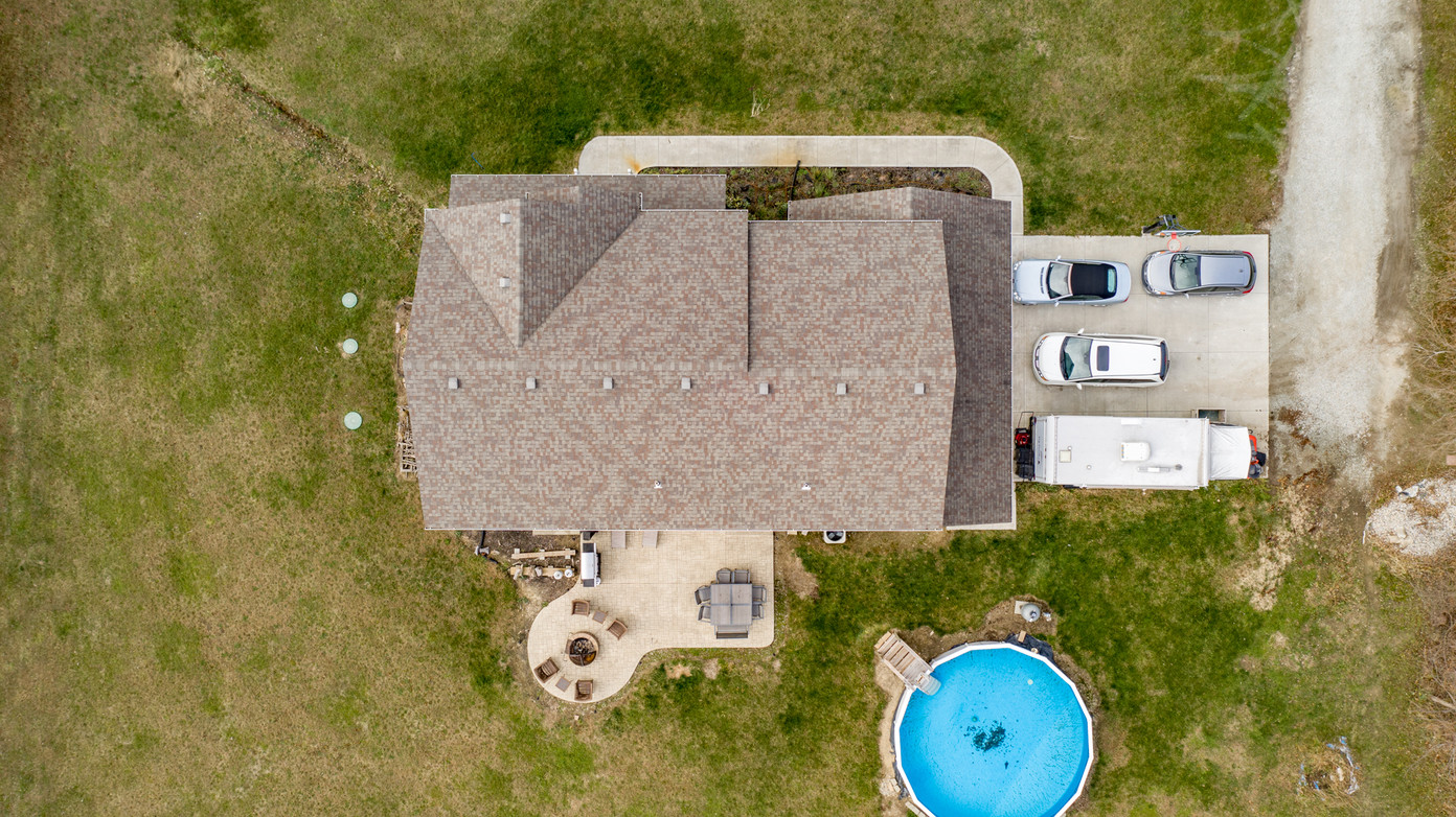 Top-down drone view of home in norther Indianapolis